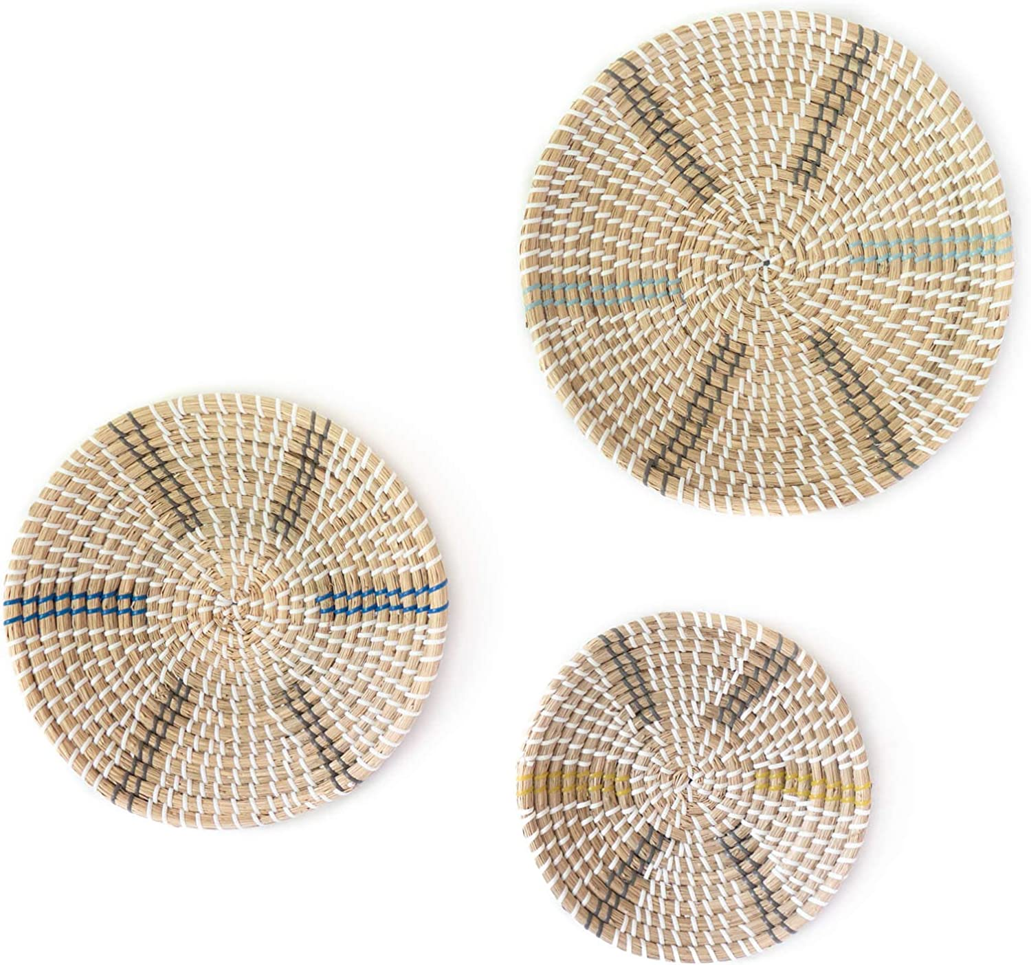 Hanging Woven Wall Basket Set of 3 - Handmade Round Woven Basket Wall Decor Made of Seagrass - Flat Woven Fruit Baskets for Wall Decor - Add These Trending Boho Baskets to Your Home Decor