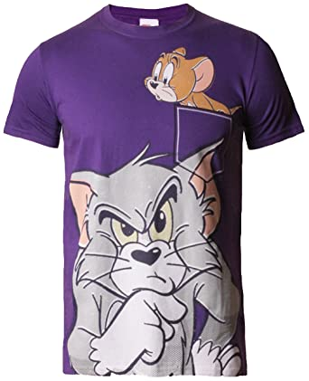 0cd67c9f Tom and Jerry Official Graphic t-Shirt tee top Crew Neck Cotton, Purple. L:  Amazon.co.uk: Clothing