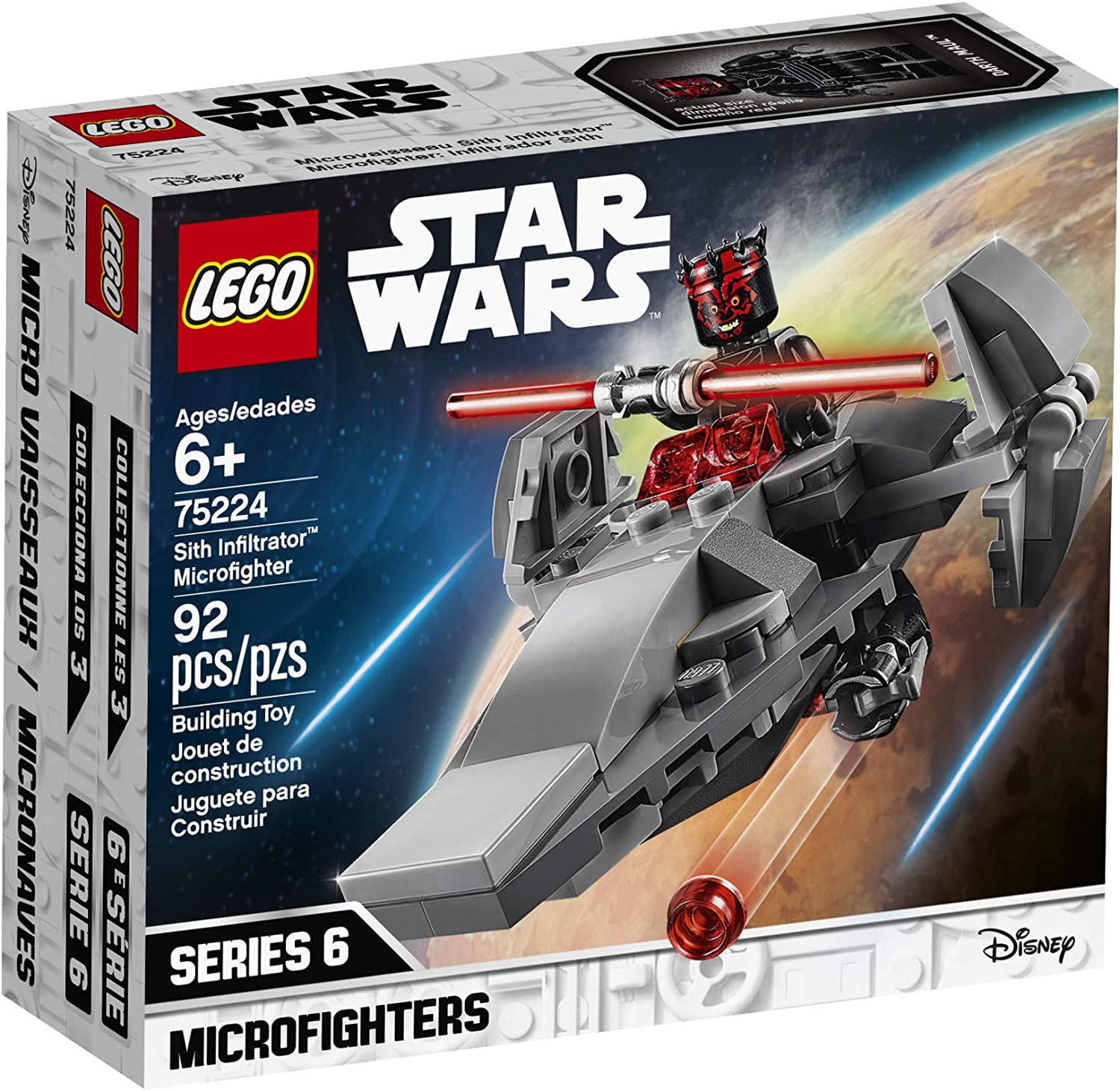 LEGO Star Wars Sith Infiltrator Microfighter 75224 Building Kit 92 Pieces