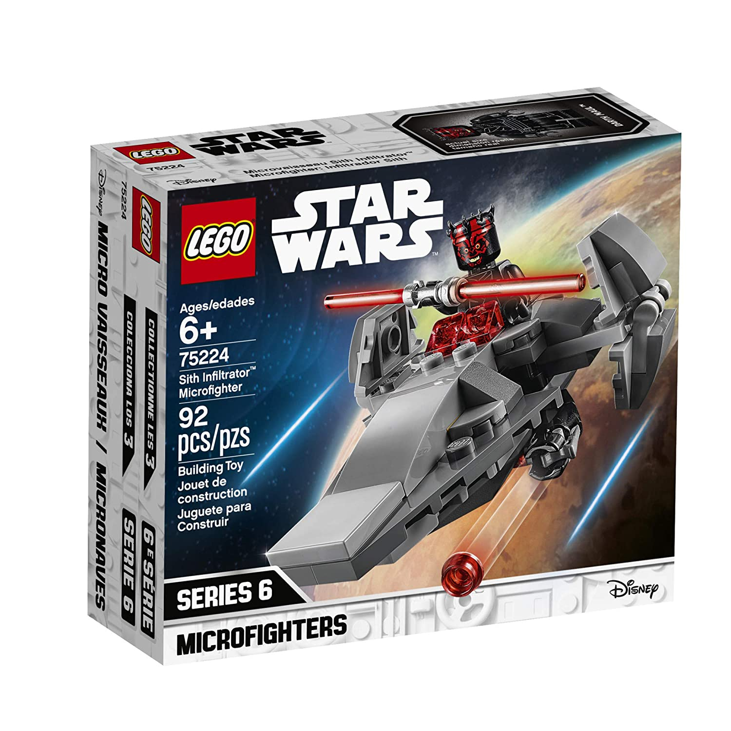 92 Piece LEGO Star Wars Sith Infiltrator Microfighter 75224 Building Kit New 2019