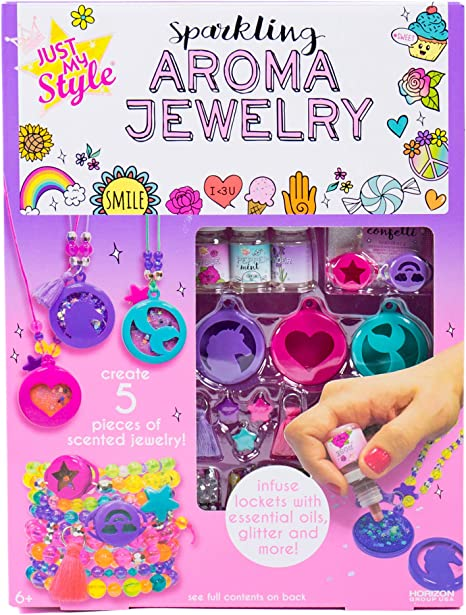 Just My Style Make Your Own Sparkling Aroma Jewelry by Horizon Group USA, Create DIY Scented Aromatherapy Pendants & Bracelets Using Beads, Glitter, Essential Oils & More, Multi