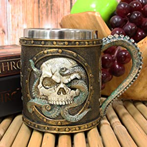 Ebros Nautical Cthulhu Cosmic Giant Octopus Wrecking Human Skull In Porthole Frame With Anchor Drinking Mug 13 oz Resin Drink Coffee Cup With Stainless Steel Liner And Tentacles Handle