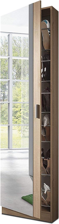 Habitdesign 007866F - Armario Zapatero con Espejo, Color Roble Natural, Medidas: 180 cm (Alto) x 50 cm (Ancho) x 20 cm (Fondo)