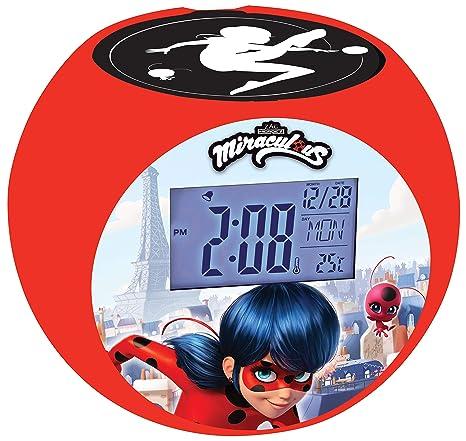 Lexibook - Despertador Digital, Rojo (Ladybug), 13 x 10 x 10.7 cm