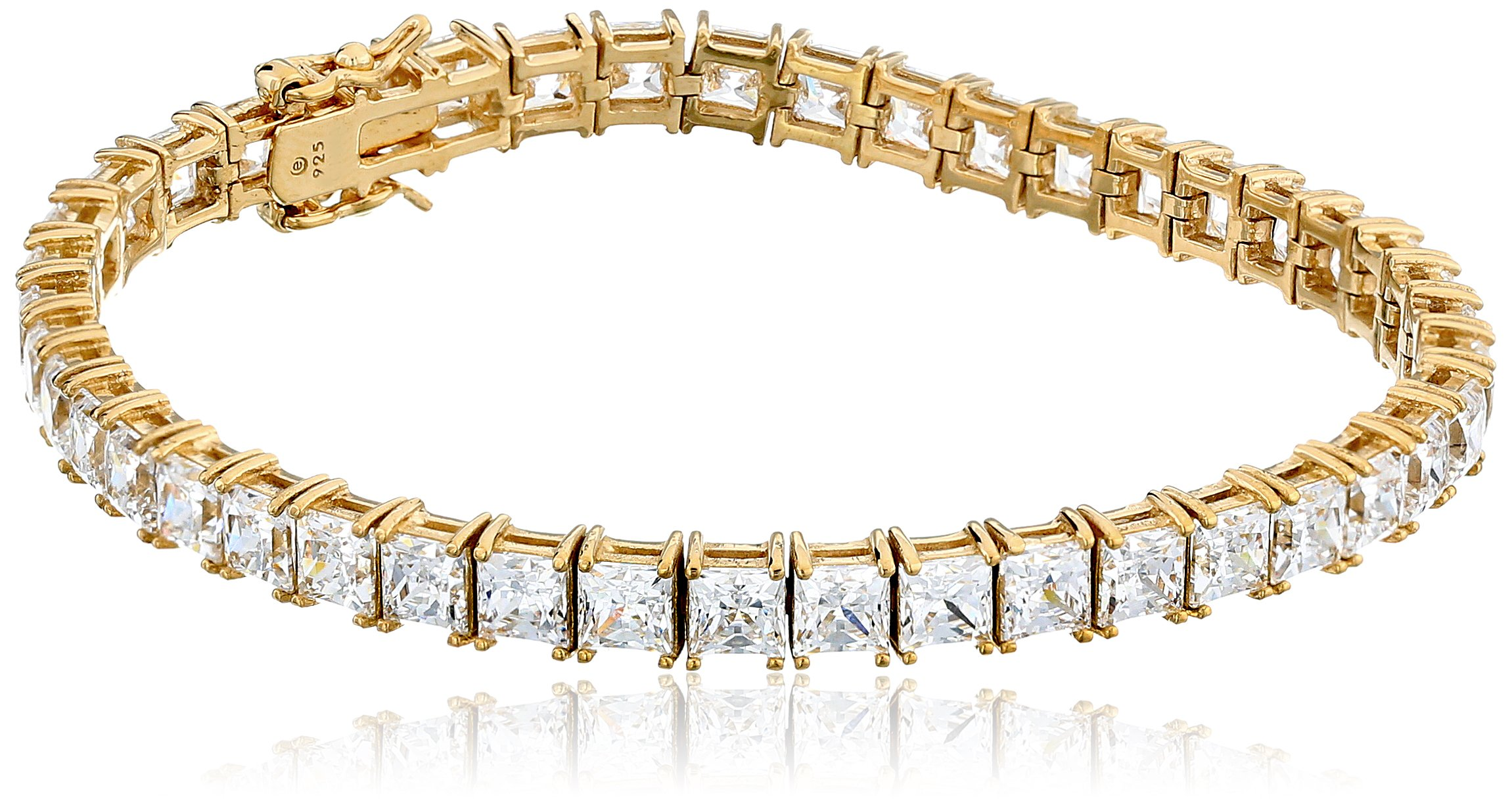 Yellow Gold Plated Silver Princess-Cut Tennis Bracelet made with Swarovski Zirconia (5mm), 7.25'' by Amazon Collection