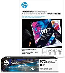 HP 972X Black High Yield Ink + HP Professional Brochure Paper, Inkjet, 8.5 x 11, 150 sheets, Glossy