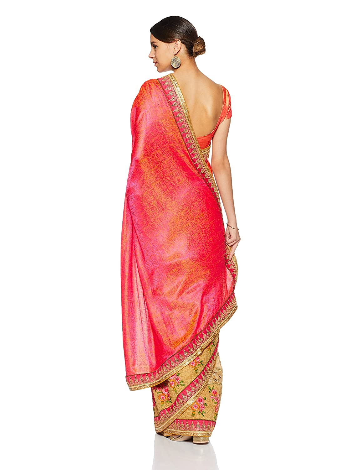 Beige and Bright Red Georgette Embroidered Saree with Blouse piece
