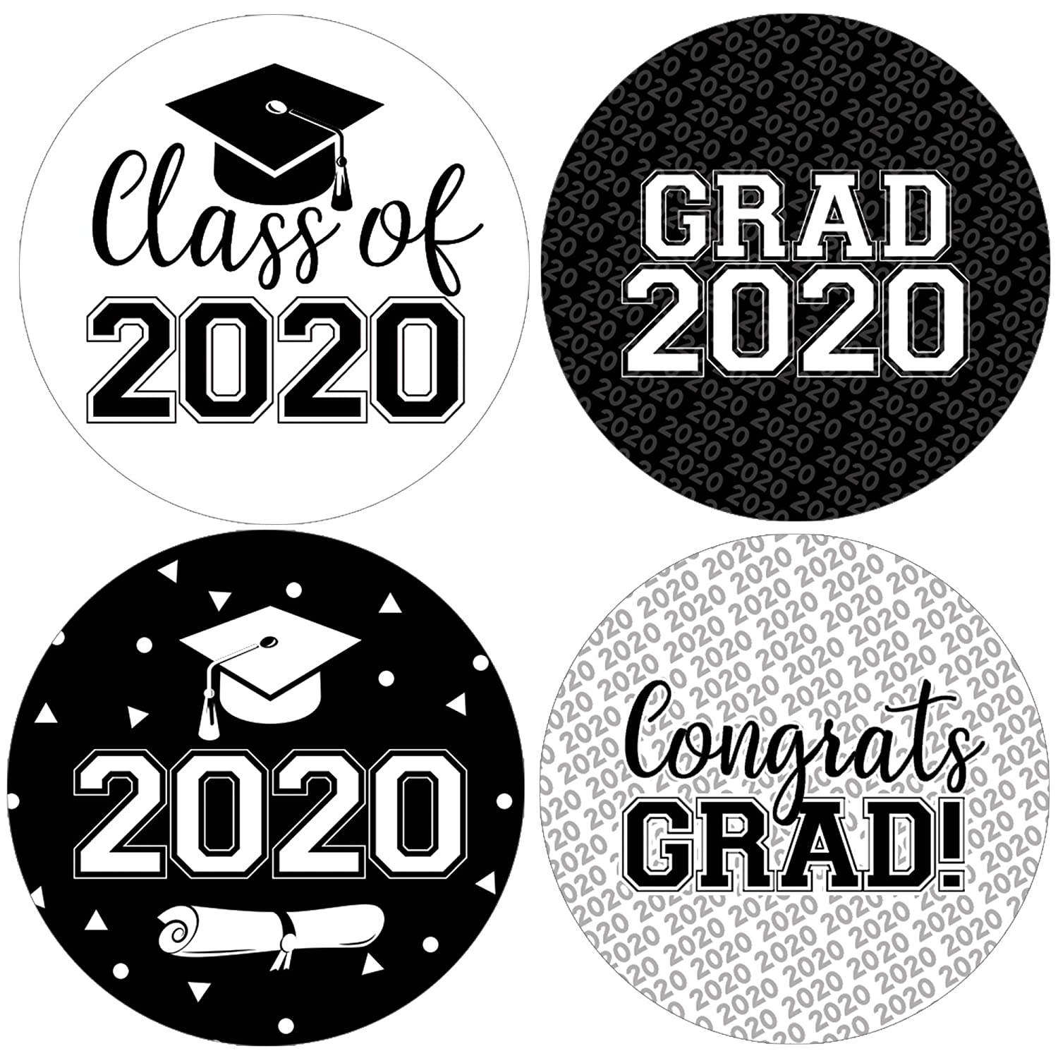 2020 Graduation Images.Class Of 2020 Graduation Party Favor Labels 1 75 In 40 Stickers Black And White