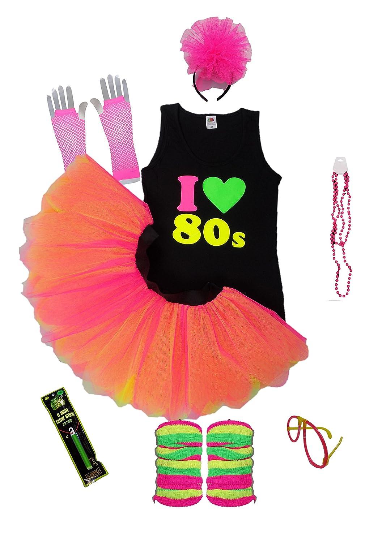 I Love 80's Neon Fancy Dress Ladies Vest Set 80s Night Tutu Skirt Fluorescent
