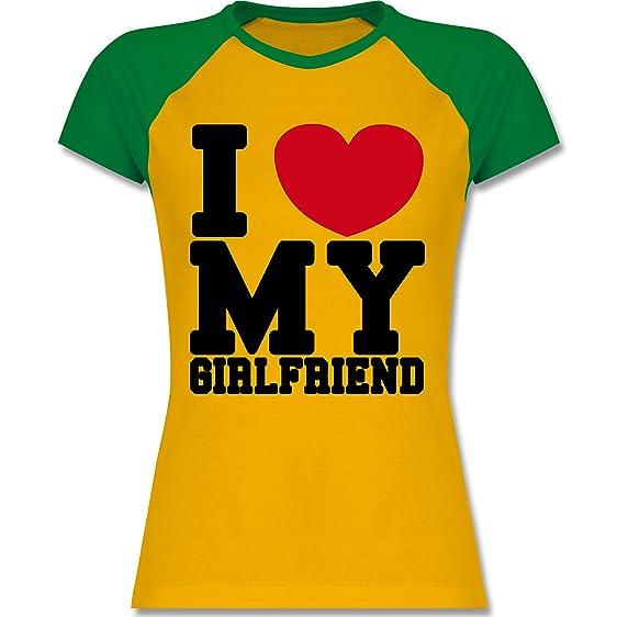 Valentinstag - I love my Girlfriend College Schrift - S - Gelb/Grün - L195