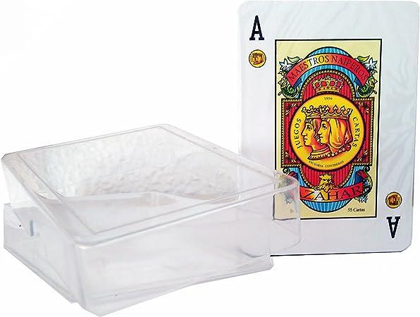Maestros Naiperos- baraja Poker, española, 55, Cartas, Estuche de plástico, Calidad Gran Casino, Color Azul o Rojo (130003093): Amazon.es: Juguetes y juegos