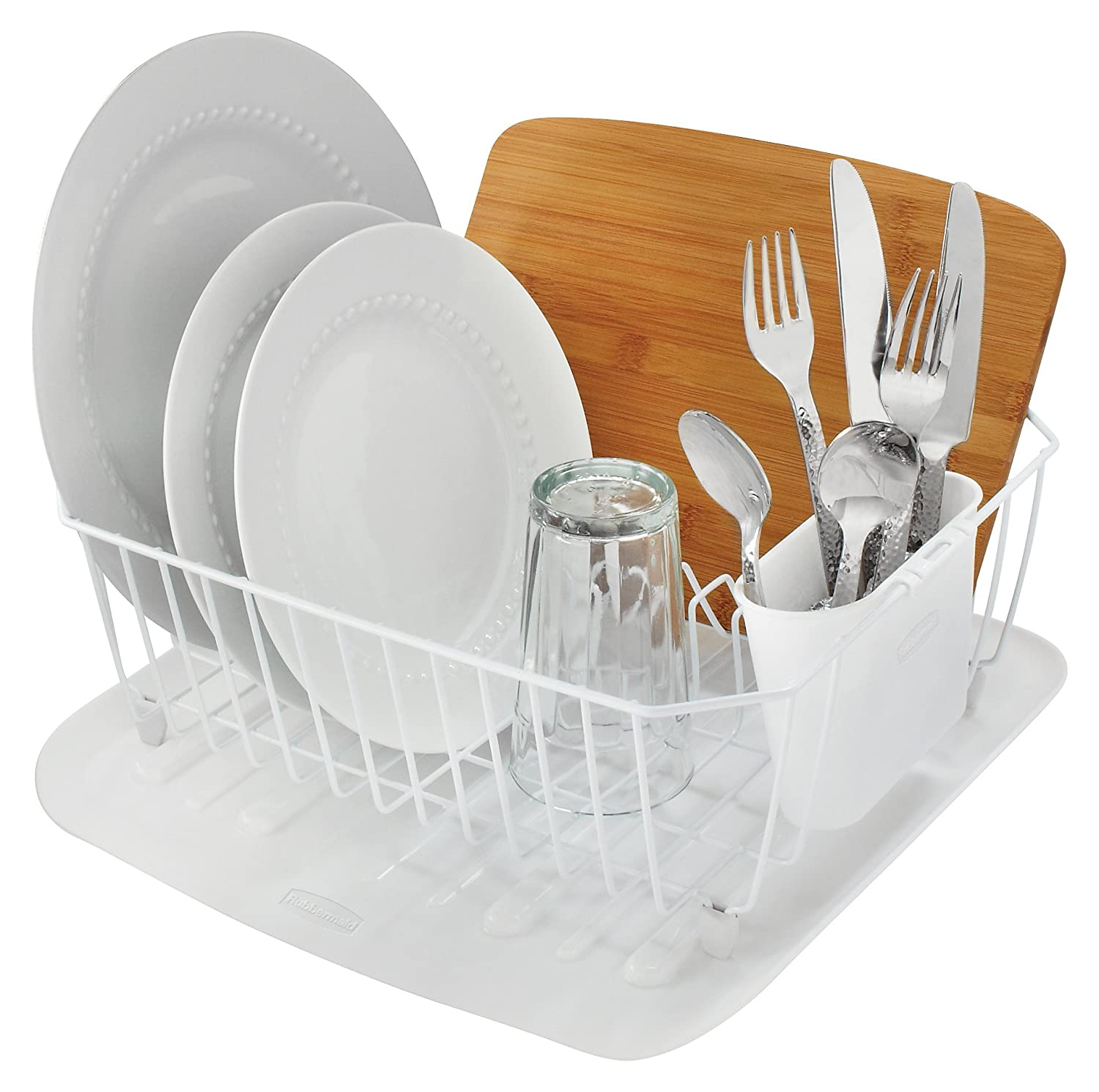 Amazon: Rubbermaid Antimicrobial Dish Drainer, Small, White: Dish Racks:  Kitchen & Dining