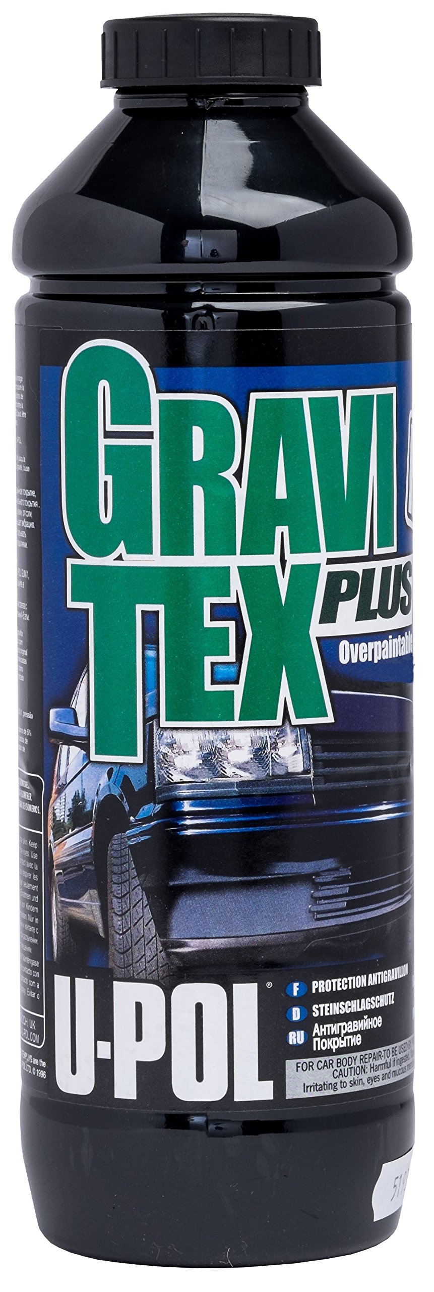 U-Pol Products 0721 Black GRAVITEX Plus HS Stone Chip Protector - 1 Liter
