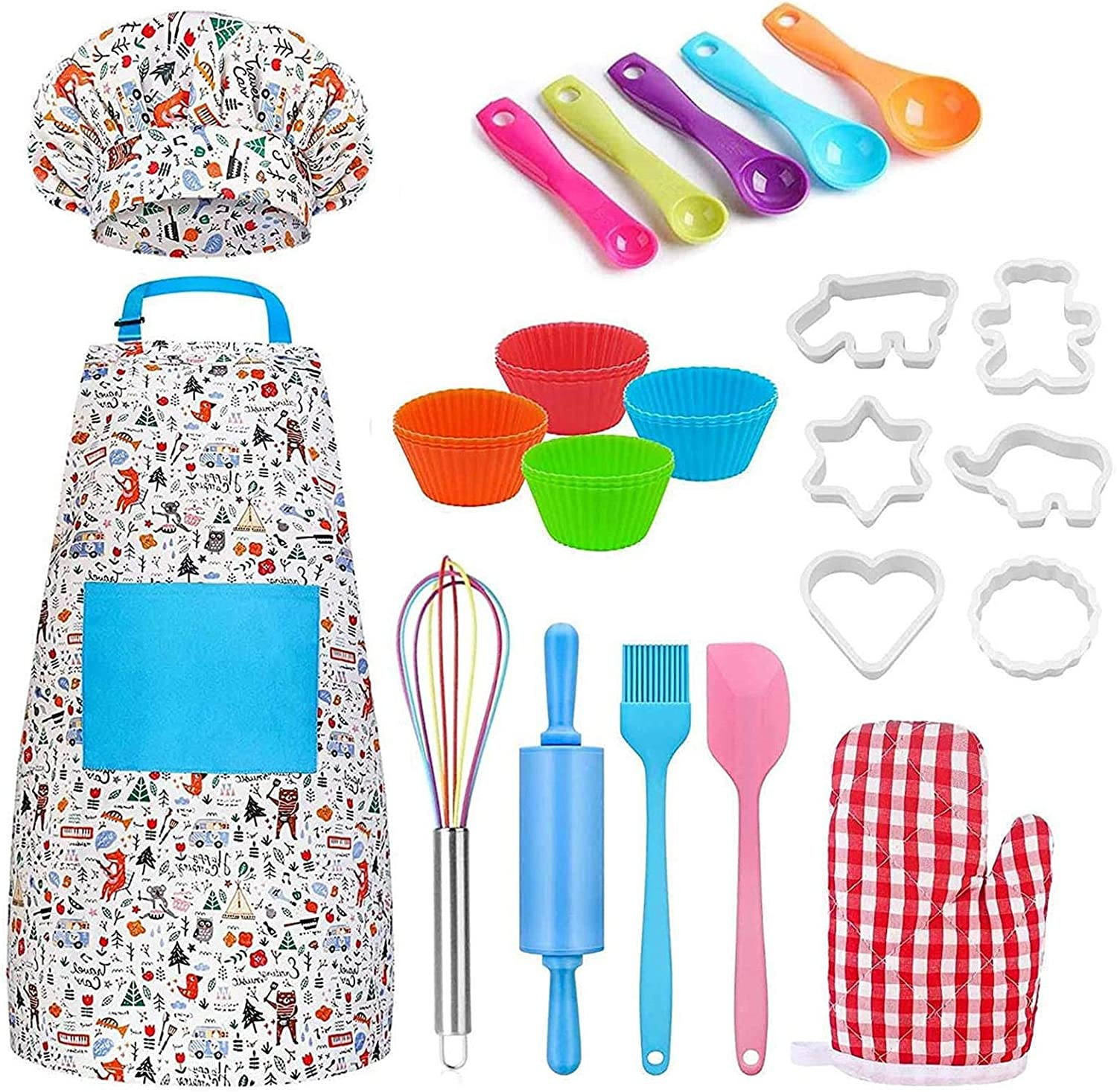 KIDS BAKING SET FOR KIDS 30 PCS KIDS COOKING SETS REAL TOOLS INCLUDES APRON CHEF HAT OVEN MITT ROLLING PIN WHISK SPATULA MEASURING SPOONS SILICONE CUP FOR KIDS CHEF ROLE PLAY