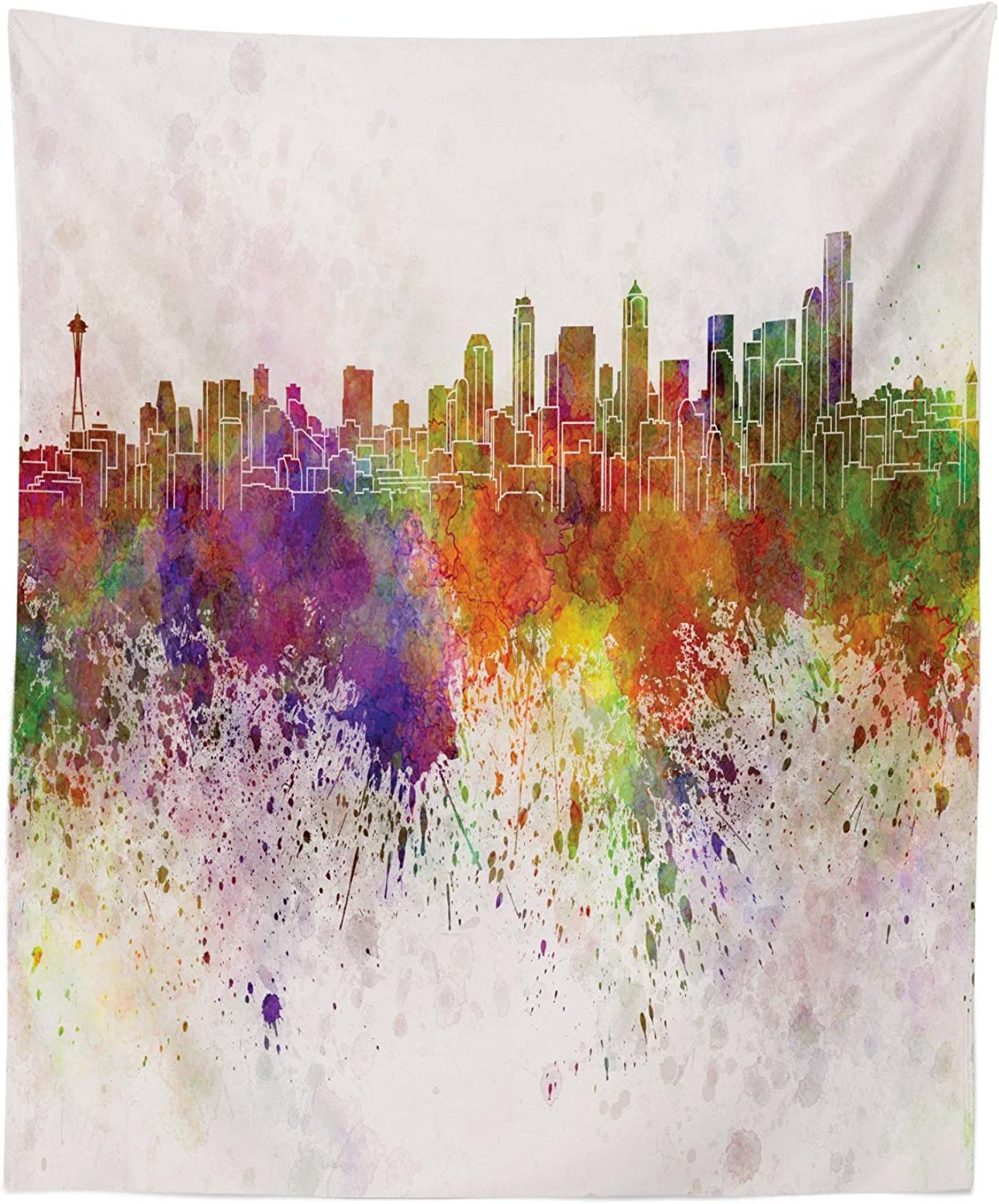 """Lunarable Seattle Tapestry, Washington King County Silhouette with Paint Splashes Colorful Urban Arrangement, Fabric Wall Hanging Decor for Bedroom Living Room Dorm, 23"""" X 28"""", Multicolor"""