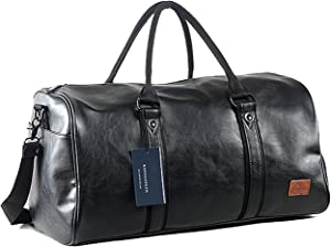 Weekender Oversized Travel Duffel Bag With Shoe Pouch, Leather Carry On Bag