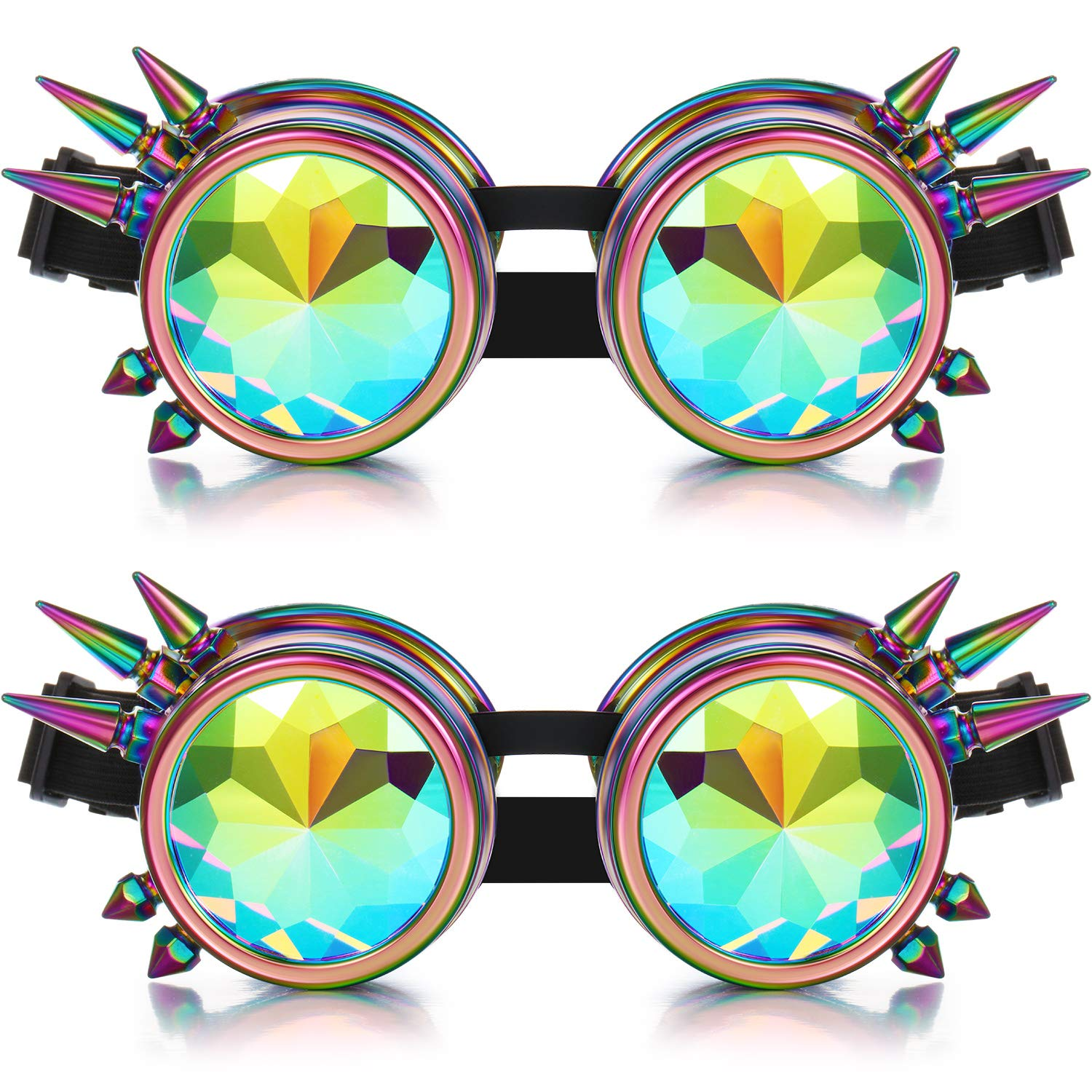 2 Pairs Kaleidoscope Steampunk Rave Goggles with Rainbow Lens (Spiked Design) by Frienda