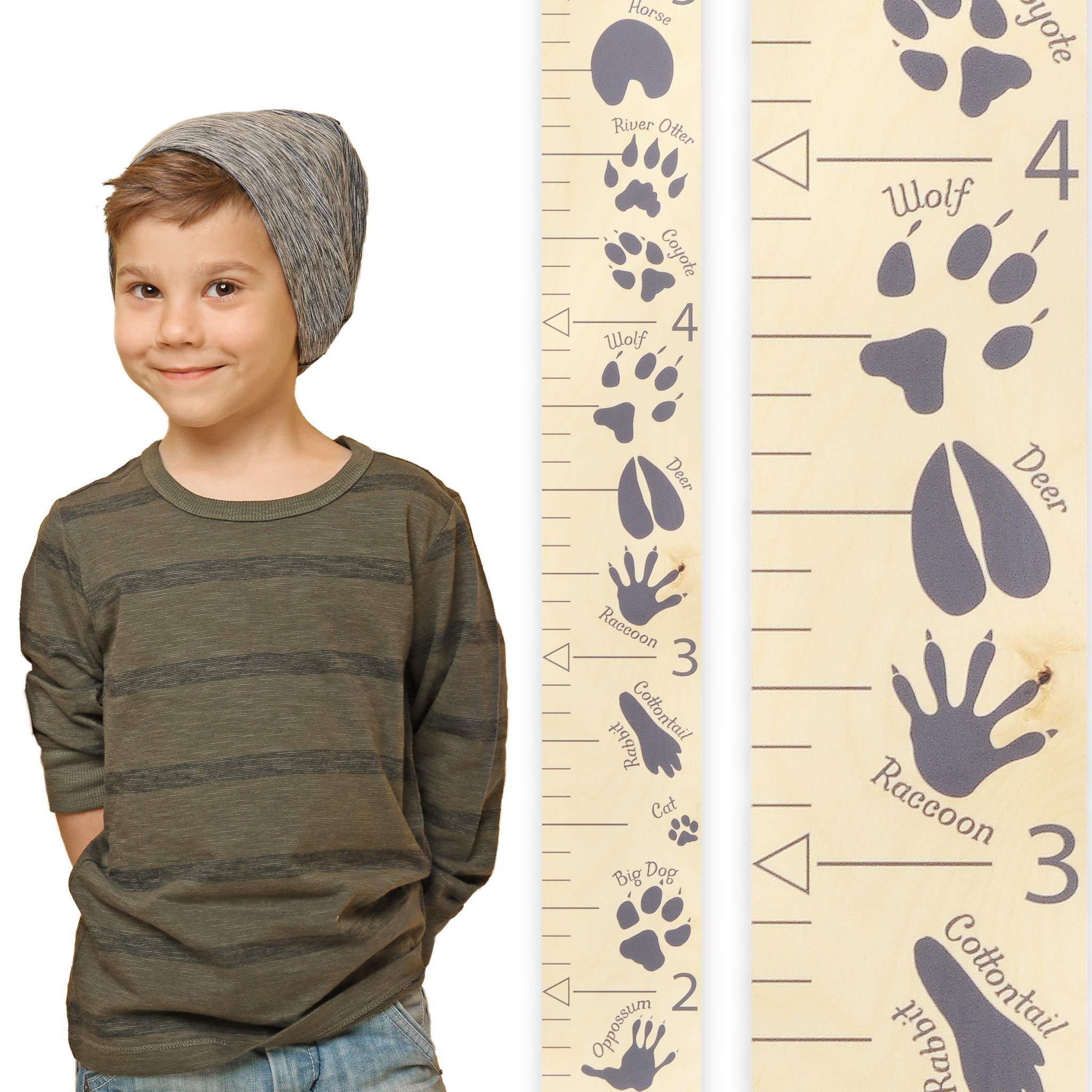 Growth Chart Art | Wooden Growth Chart Ruler for Boys, Girls| Growth Chart Ruler Kids Height Chart | Measuring Kids Height Wall Décor for Kids | Animal Tracks Gray