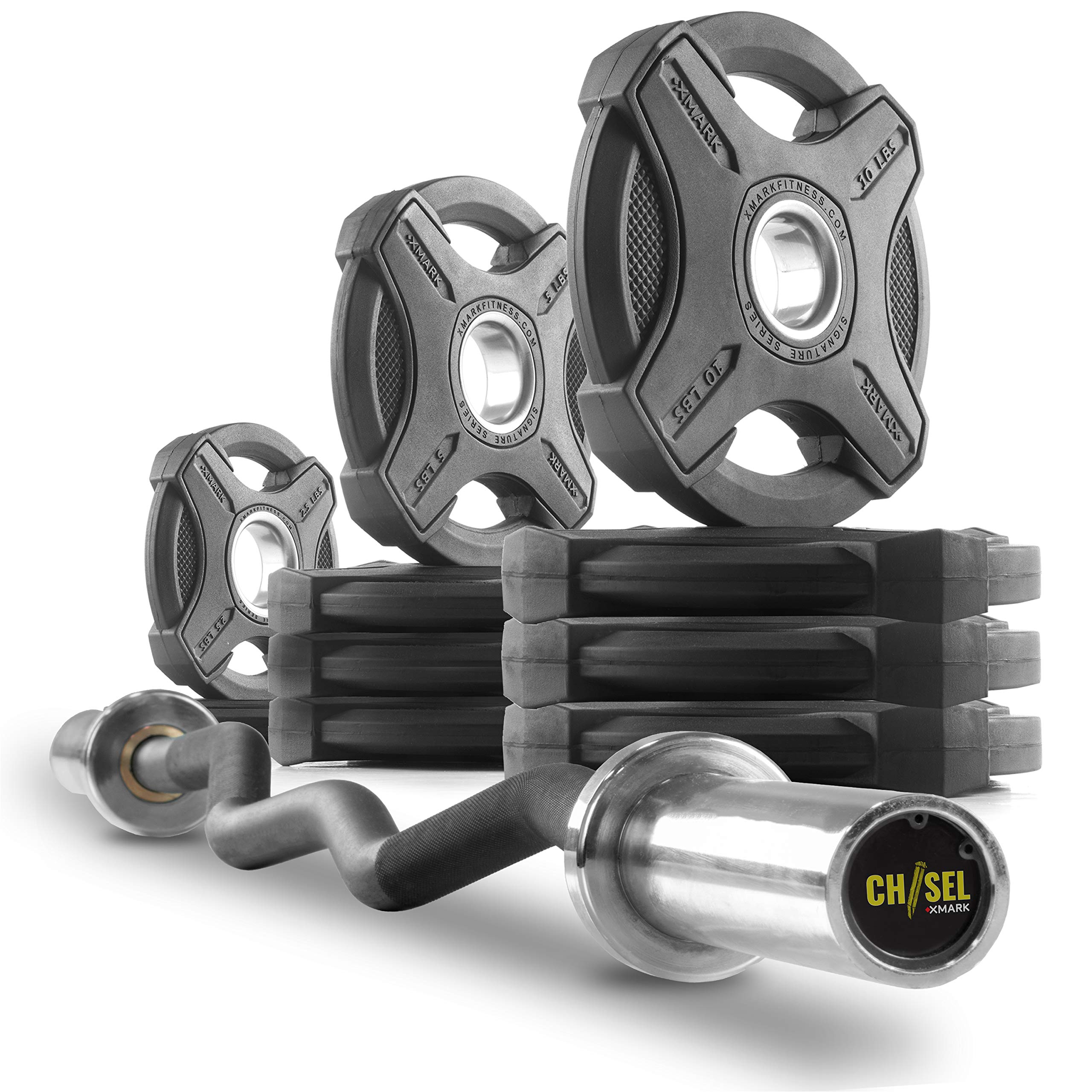 XMark Chisel Olympic Curl Bar with Signature 65 lb. Olympic Plate Weight Set, Notable Quality, Impressive Design, and Impeccable Craftsmanship