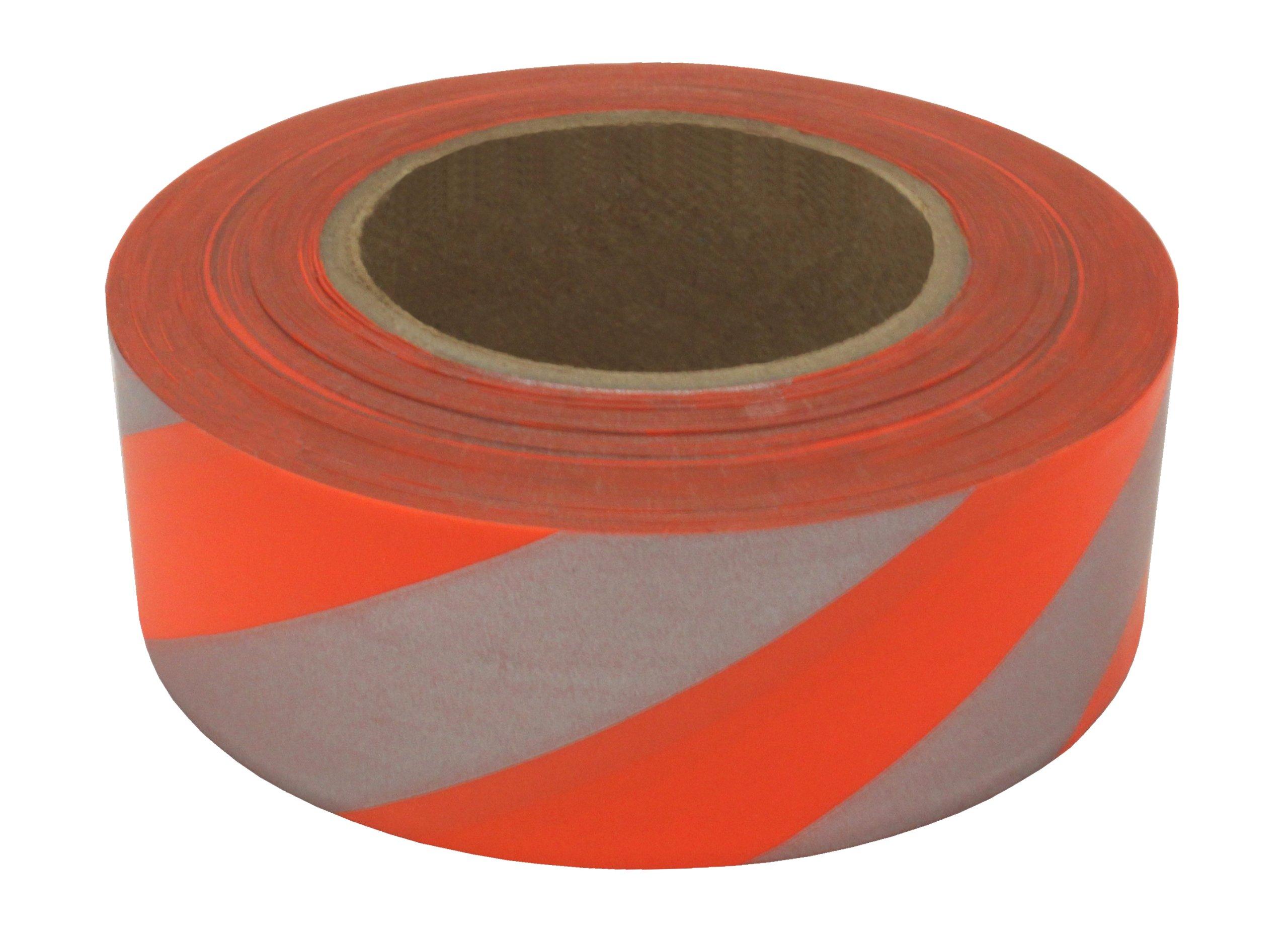 Presco SOGREF-658 150' Length x 1-3/16'' Width, PVC Film, Day/Night Orange Glo Striped Patterned Roll Flagging (Pack of 144)