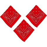 Set of 3 Amscan 20 x 20 inches Red Bandana bundled by Maven Gifts