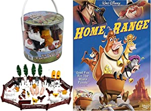 Animal Figures & Maggie the Cow Disney's Home On The Range Cartoon Feature DVD Rip-Roaring Wild West + Barn Bucket of Farm Animals fun Pack