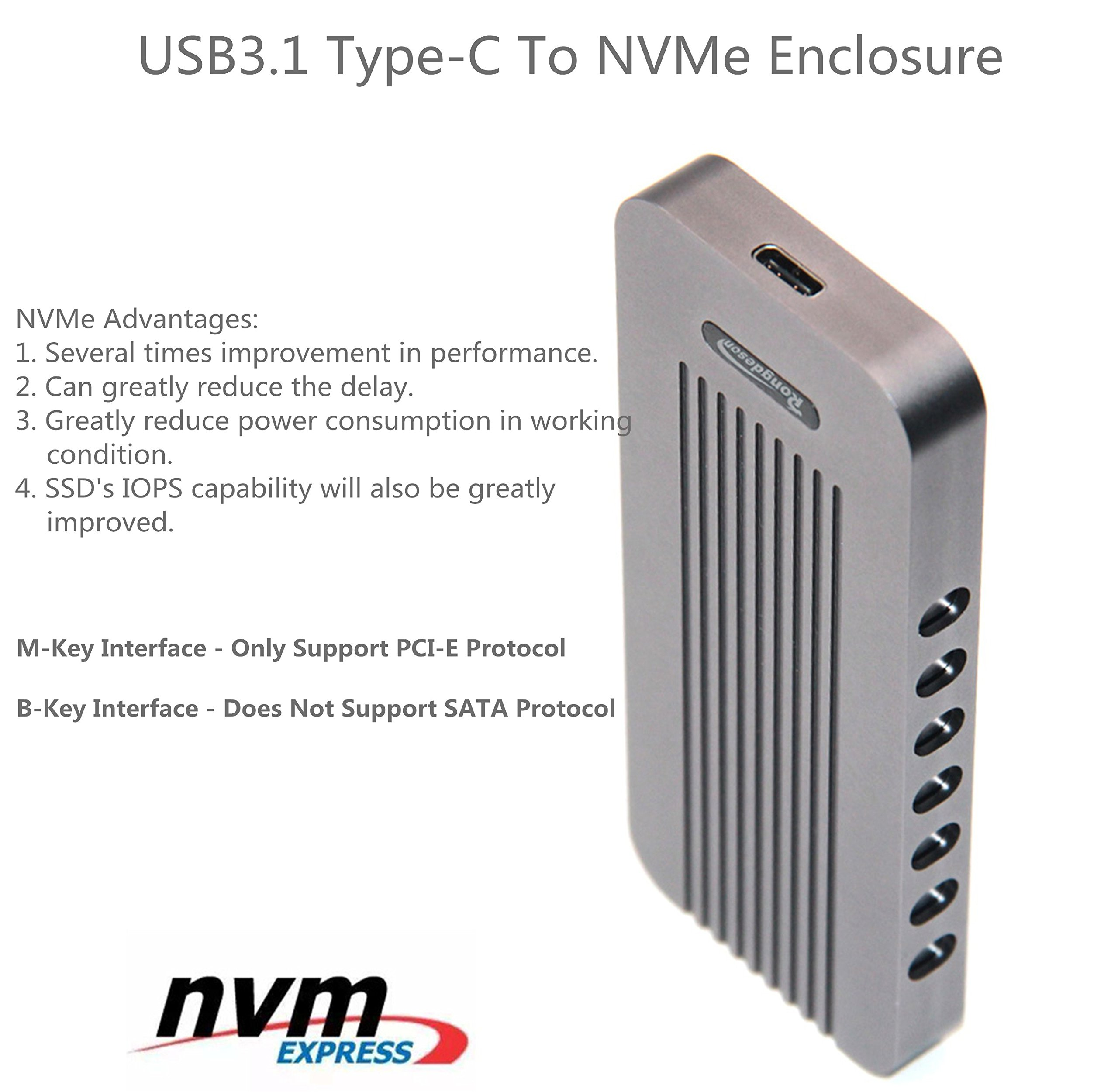 USB Type-C 10Gbps M.2 SSD Enclosure M Key, USB 3.1 To PCI-E NVMe Hard Disk Case Aluminum Design Support 2230 2242 2260 2280 Support Samsung SM951/SM961 (902 CToC, Charcoal Gray) by WBTUO (Image #8)