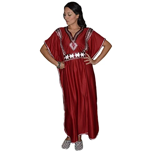 Moroccan Caftans Women Handmade with Embroidery Long Length One Size  Burgundy 3dc0010969f