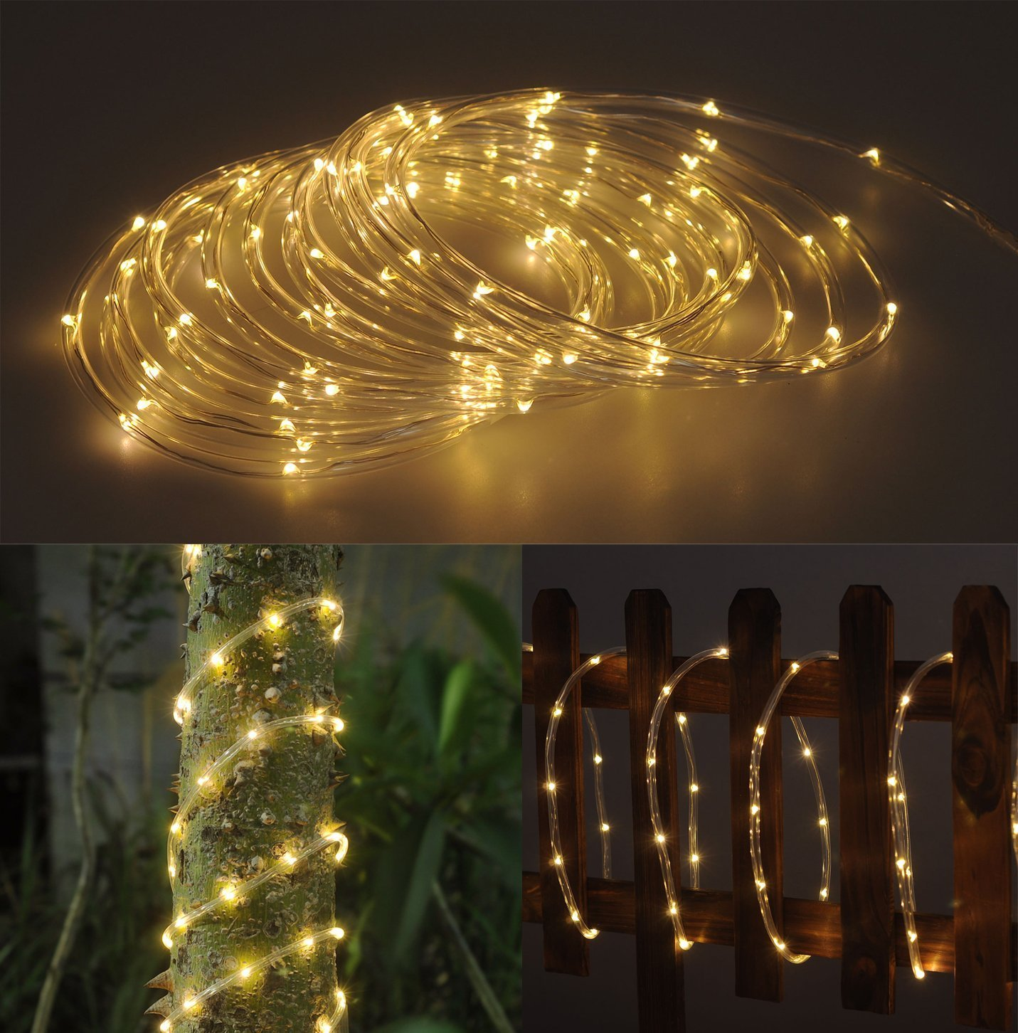 Amazon solar rope tube 100 led starry string garden light 17 amazon solar rope tube 100 led starry string garden light 17 feet long total length warm white waterproof for outdoor patio gardens homes arubaitofo Gallery
