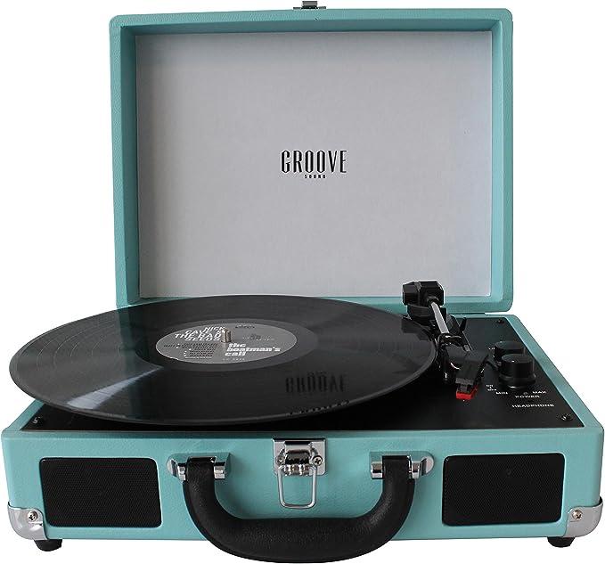 Tocadiscos Portatil Groove Sound Color Turquesa (Turquesa): Amazon ...