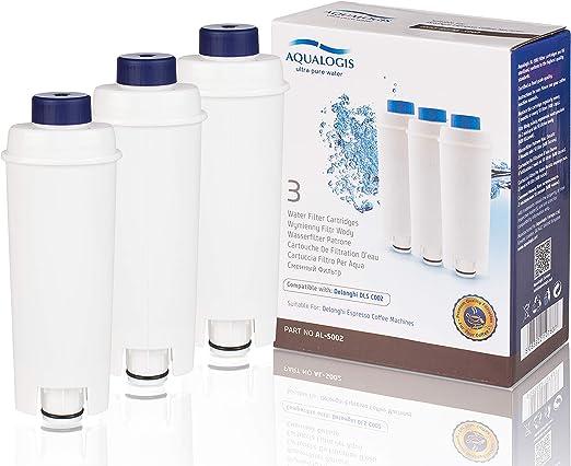 Aqualogis Filtros de Agua para Cafetera DeLonghi Filtro DLSC002 con Ablandador de Carbón Activado, Homegoo Filtro Compatible con DeLonghi ECAM, Esam, Etam, BCO, EC. (Paquete de 3): Amazon.es: Hogar