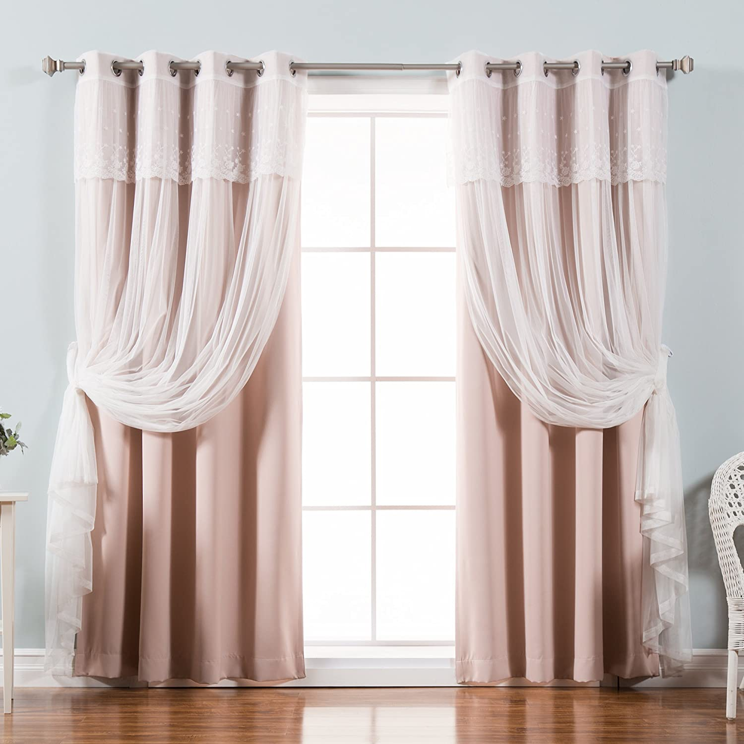 Best Home Fashion Mix & Match Tulle Sheer with Attached Valance & Solid Blackout Curtain Set – Stainless Steel Nickel Grommet Top – Dusty Pink
