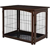 PawHut Wooden Decorative Dog Cage Pet Crate with Fence Side Table Small Animal House and Tabletop, Brown