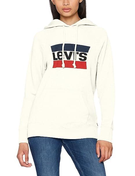 Levi's Graphic Sport Hoodie, Suéter para Mujer, Blanco (Sportswear Hoodiee Marshmallow 0001), Medium