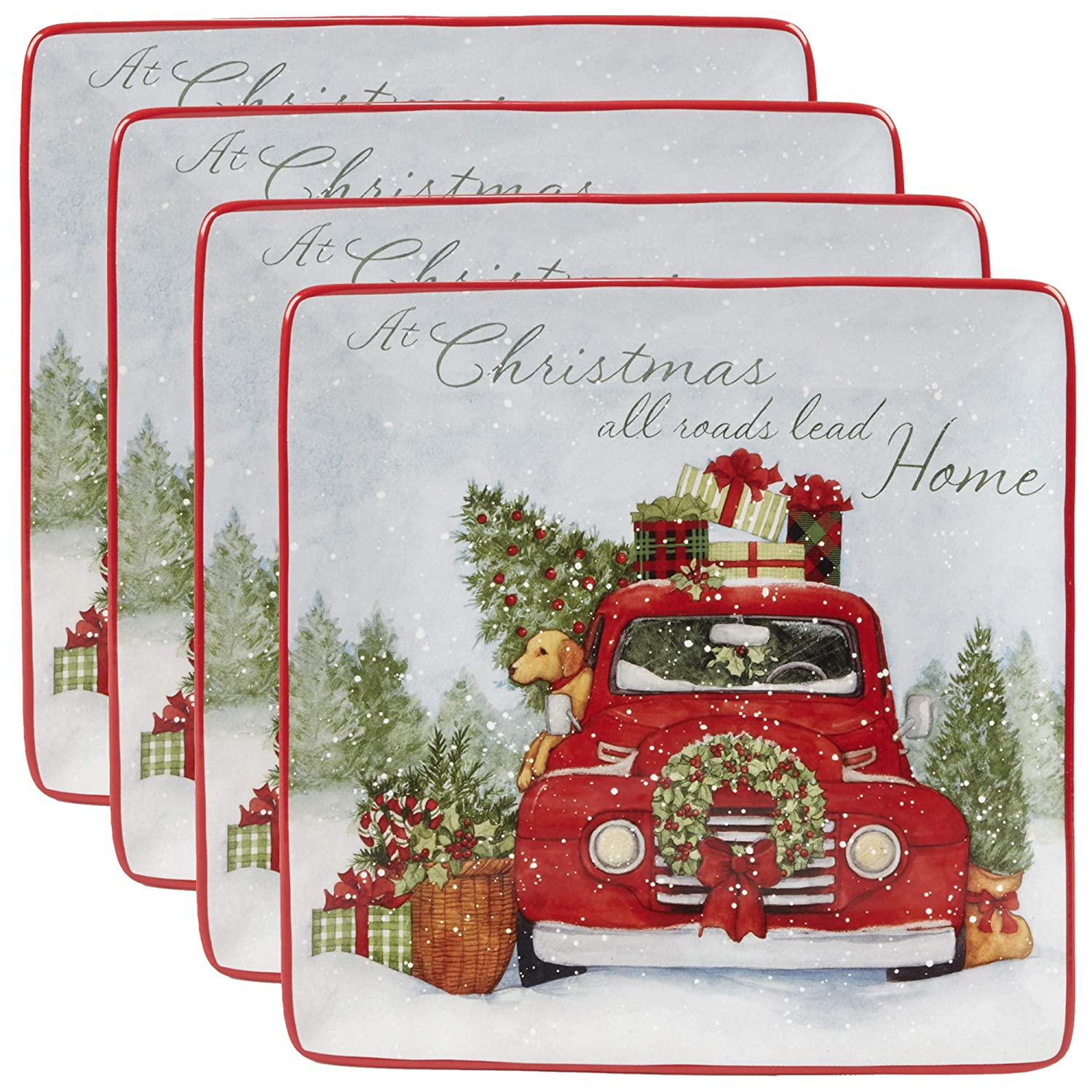 """Certified International 22780SET4 Home for Christmas 10.5"""" Dinner Plate, Set of 4, One Size, Multicolor"""