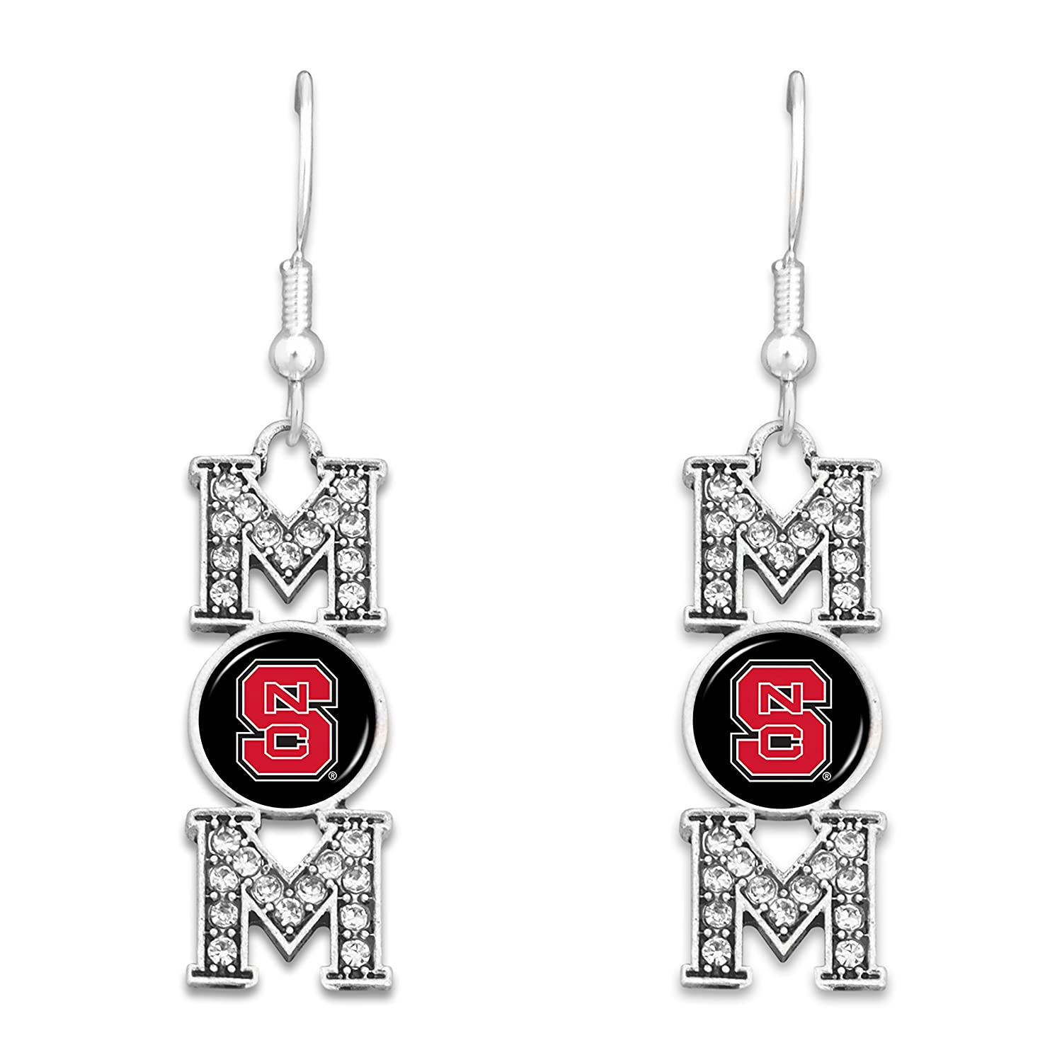 FTH North Carolina State Wolfpack MOM Earrings with Logo and Rhinestones