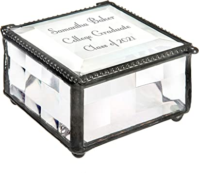 Personalized Gift Glass Jewelry Box Engraved Keepsake Monogrammed Gift for Bridesmaid Mother/'s Day Graduation Birthday Wedding Box326EB214-2
