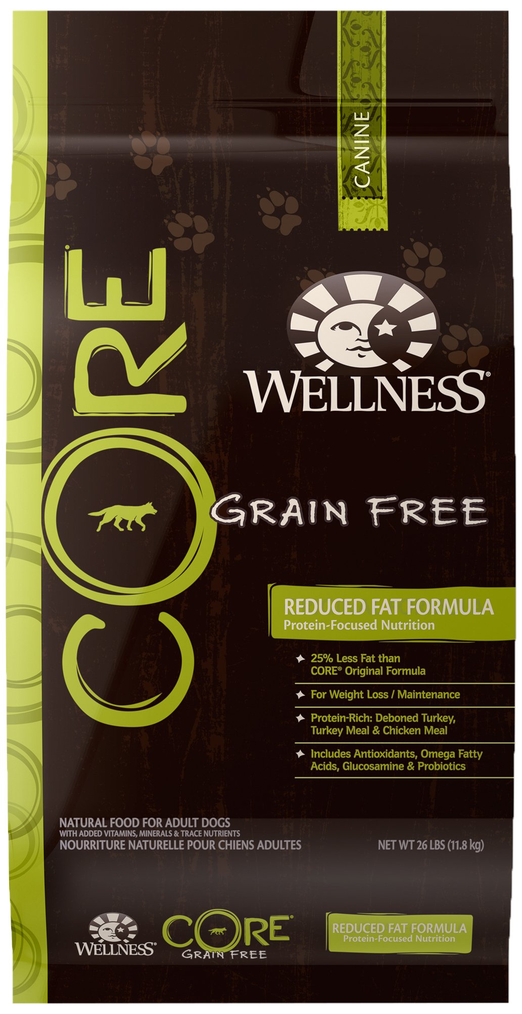 Wellness CORE Natural Grain Free Dry Dog Food, Reduced Fat, 26-Pound Bag
