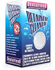 Retainer and Denture Cleaning Tablets 3-Month Supply 96 Tablets Removes Stain, Plaque & Bad Odor from Dentures, Night Guard, Mouth Guard & Removable Dental Appliances