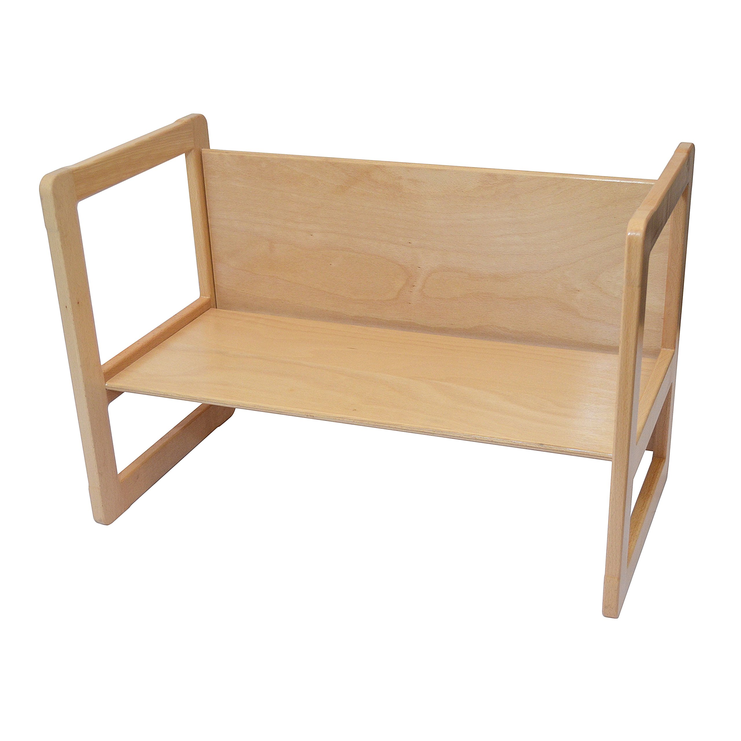 3 in 1 Childrens Furniture One Large Multifunctional Bench or Table Beech Wood, Natural