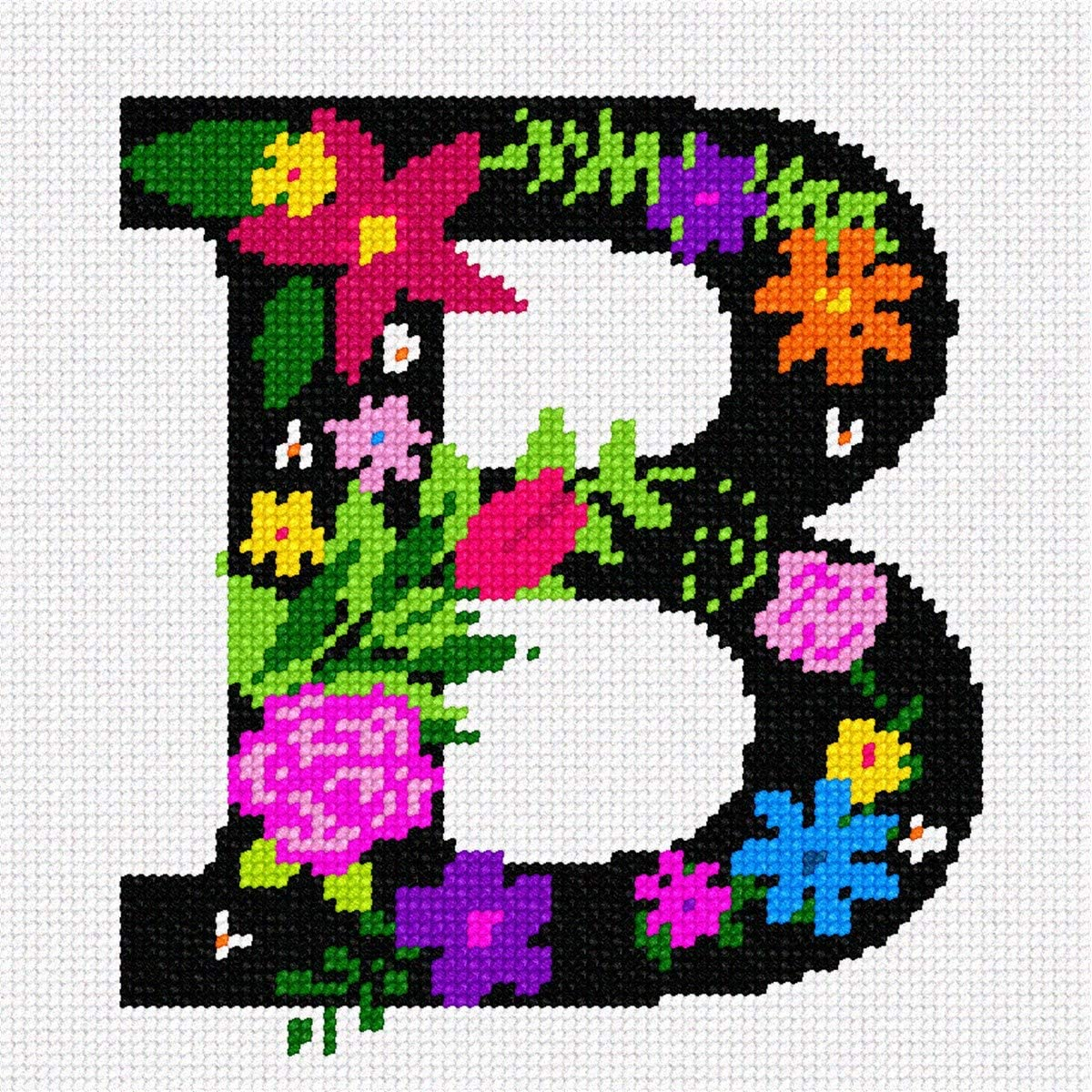 pepita Letter B Primary Floral Needlepoint Kit