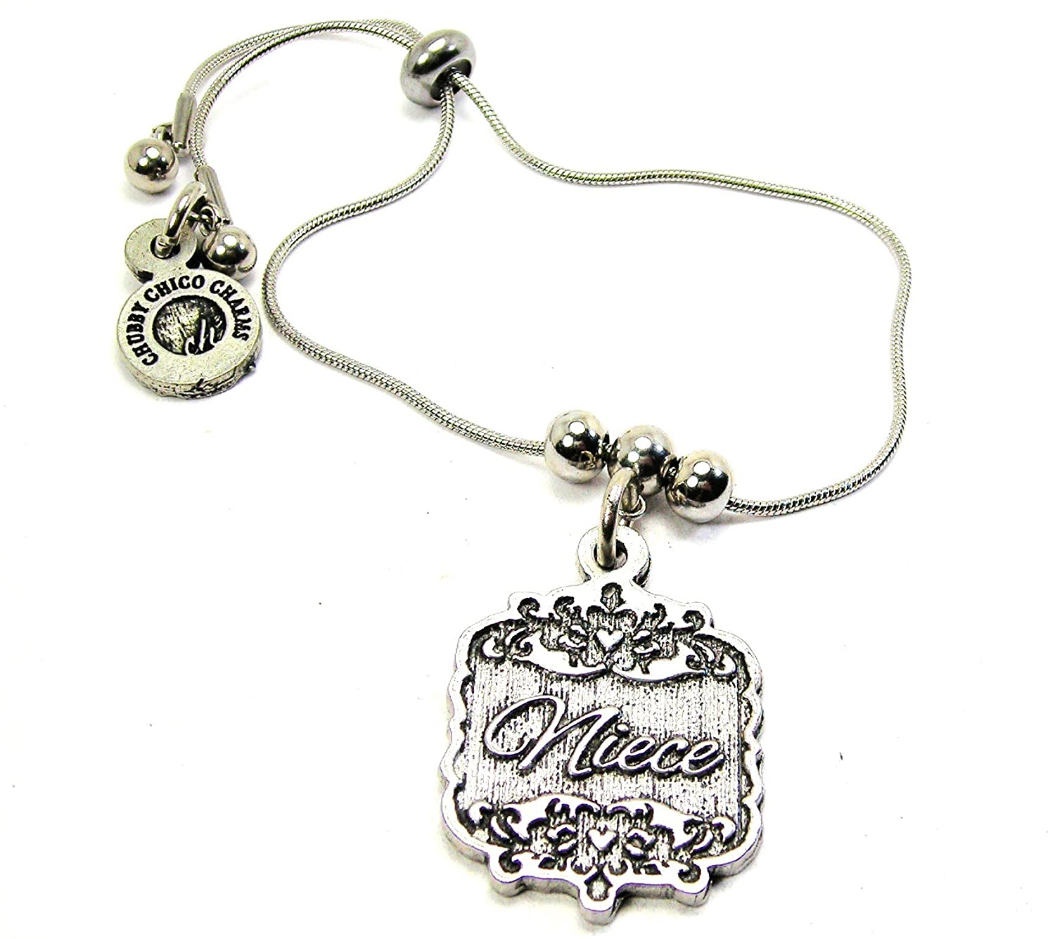 Chubby Chico Charms Niece Victorian Scroll Slide Chain Bracelet in