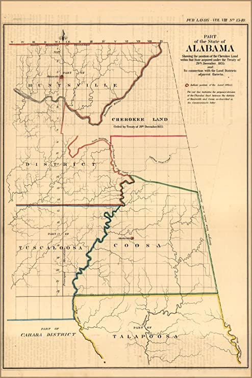 Amazon.com : 16x24 Poster; Map Of Alabama Showing Cherokee ... on map missouri indians, map of alabama national forests, map nebraska indians, early alabama indians, map of alabama railroads, map of alabama in water, map of alabama forts, map kansas indians, map maryland indians, alabama history indians, map indiana indians,