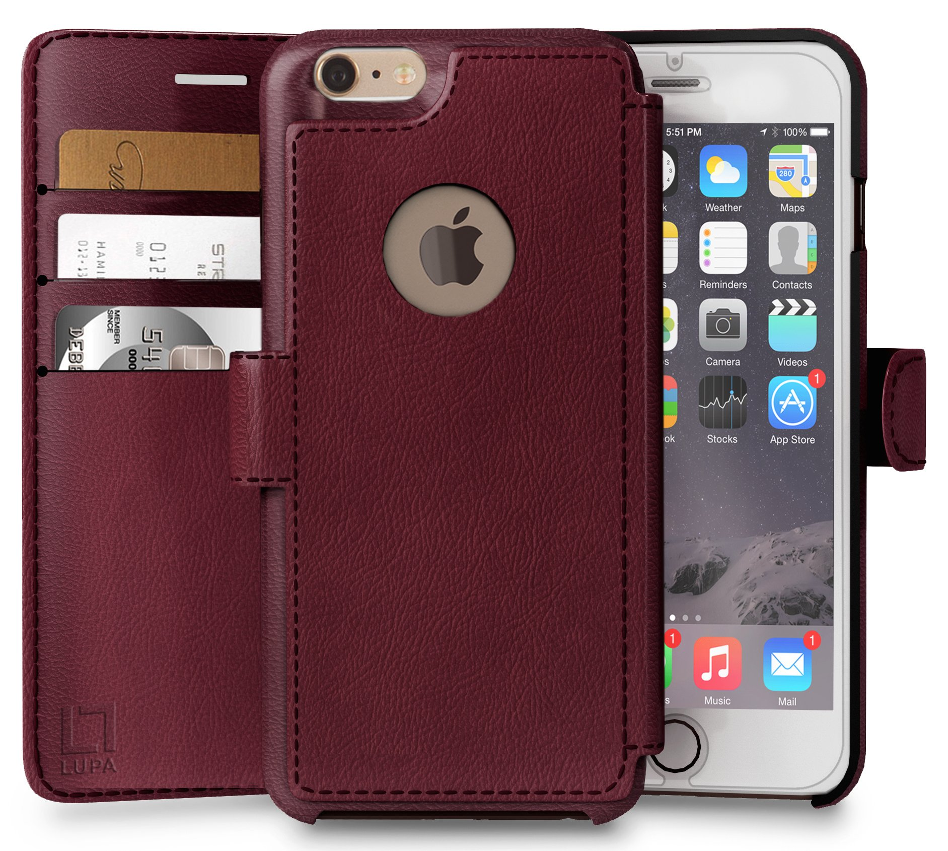 iPhone 6 Plus,6s Plus Wallet Case | Durable and Slim | Lightweight with Classic Design & Ultra-Strong Magnetic Closure | Faux Leather | Burgundy | Apple 6/6s Plus (5.5 in) by LUPA