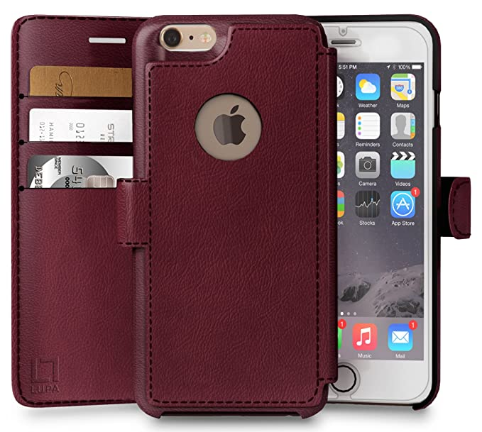 check out fe3f7 fa62d iPhone 6, 6s Wallet Case, Durable and Slim, Lightweight with Classic Design  & Ultra-Strong Magnetic Closure, Faux Leather, Burgundy, Apple 6/6s (4.7 ...