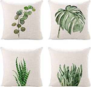 Sinpooo Spring Plants Throw Pillow Covers for Home Sofa Bedding Couch, Green Leaves Cushion Cover with Invisible Zipper 18 x 18 Inch Set of 4 (4 Pack Plant)