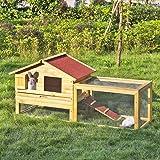 iKayaa Poulailler Cage à Lapin en Bois pour Extérieur Grand Etanche Solide avec Cage Volaille d'Animal 158 X 61 X 75 cm