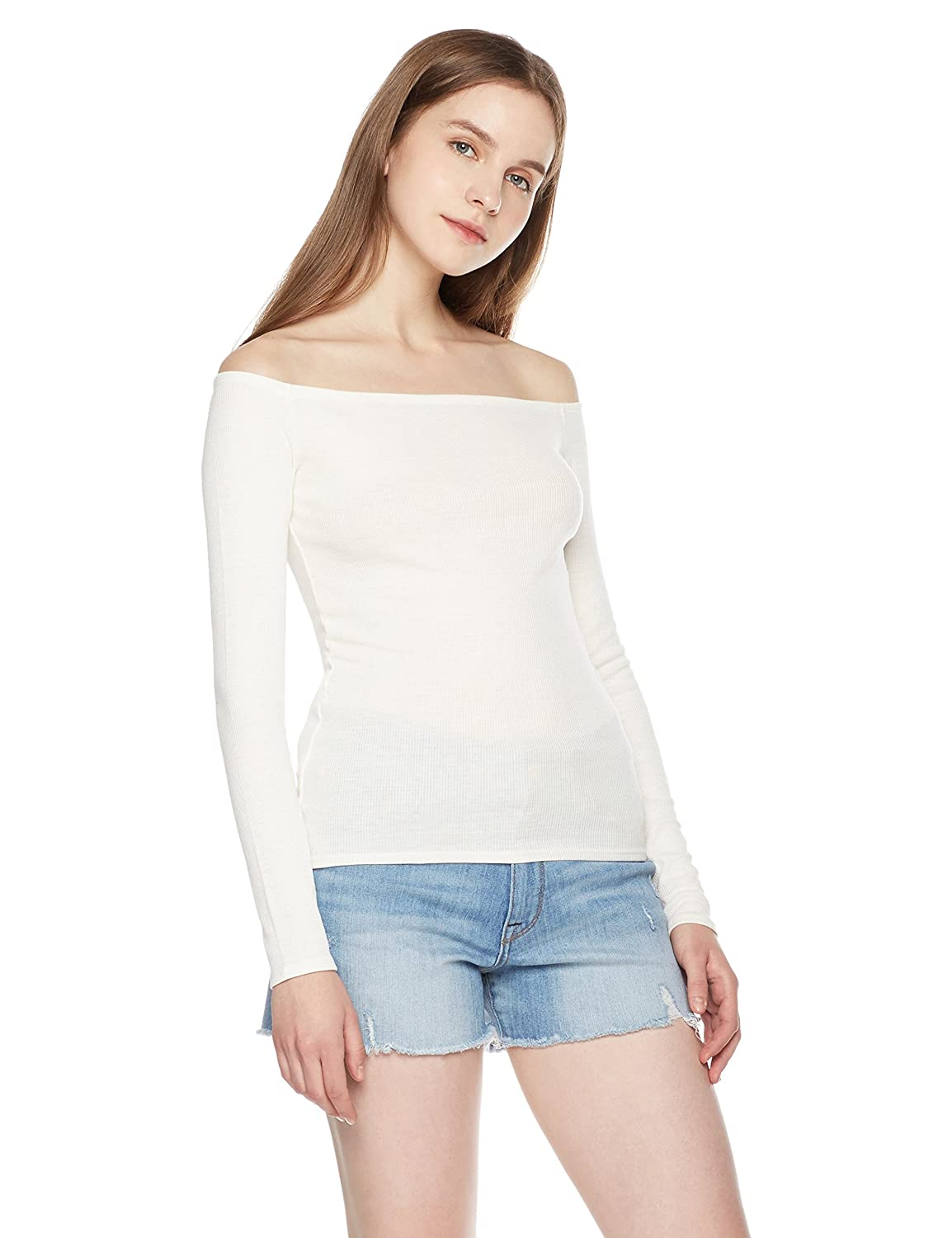 c5dd5e6149cd89 Ribbed jersey top featuring off-shoulder design with long sleeves and  form-fitting silhouette