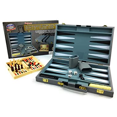 Matty's Toy Stop Deluxe 15  Backgammon Briefcase (Vinyl Gray Attache) with 3-in-1 Chess, Checkers & Backgammon Wooden Travel Games Set (8 )