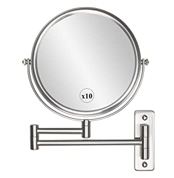 8 Inch 10x Magnification Wall Mount Makeup Mirror Two Sided Cosmetic Mirror  Nickel Finish